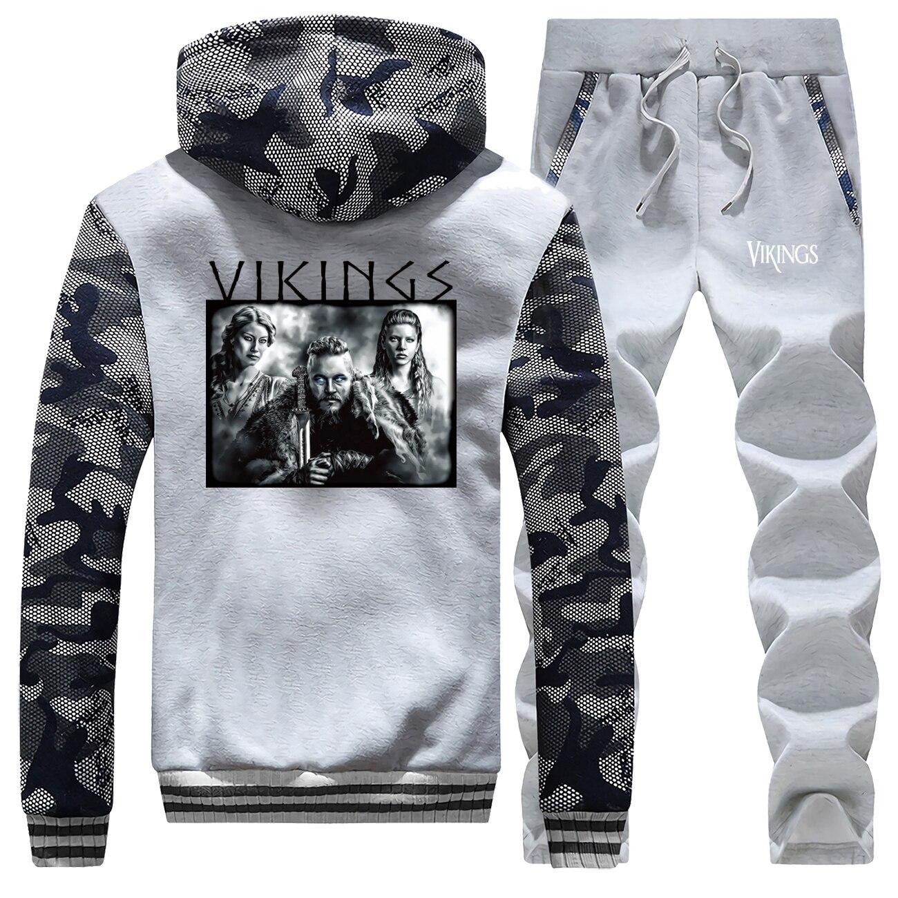 2019 New Winter Suit Hoodies Raglan Camouflage Men Sportswear Vikings Printed Coat Thick Fleece Hooded+Sweatpants 2 Piece Set