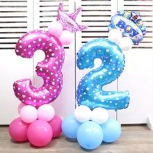32-дюймовый печатных дорожной разметки порошковой краской с цифрами Алюминий пленки воздушный шар для малышей сто дней Anniversery День Рождения Декоративные средней беспроводным доступом в Интернет
