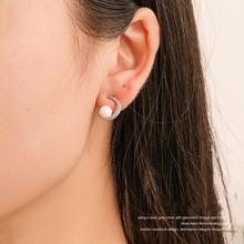 Creative Crystal Moon Pearl Earrings for Women Silver Color Korean Fashion Small Fresh Stud Cute Jewelry Girls Gifts