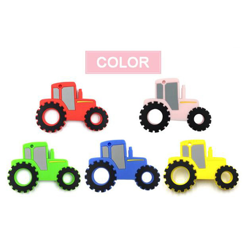 Baby Silicone Teether Teething Toy Beads Car Shape Chew Necklace Nursing Tool Food Grade Silicone Pendants