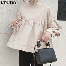 Fashion Women Blouses 2020 Autumn Solid Color Long Sleeve Tops Femme Basic Shirts VONDA Bohemian Blusas Plus Size OL Office Tops