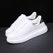 Buy women sneakers  2019 New Fashion Spring Autumn  flats Lovers White Casual Shoes leisure Lace-up Platform single Shoes directly from merchant!