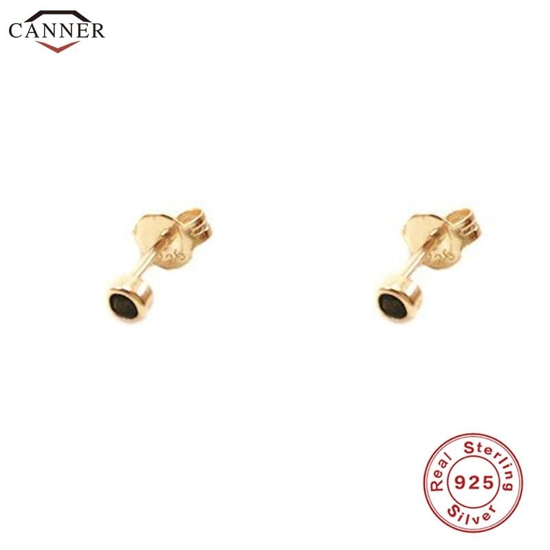 Мини-серьги-гвоздики золотого цвета для женщин и девочек, серьги-гвоздики с черными кристаллами из стерлингового серебра 925 пробы, милые кро...