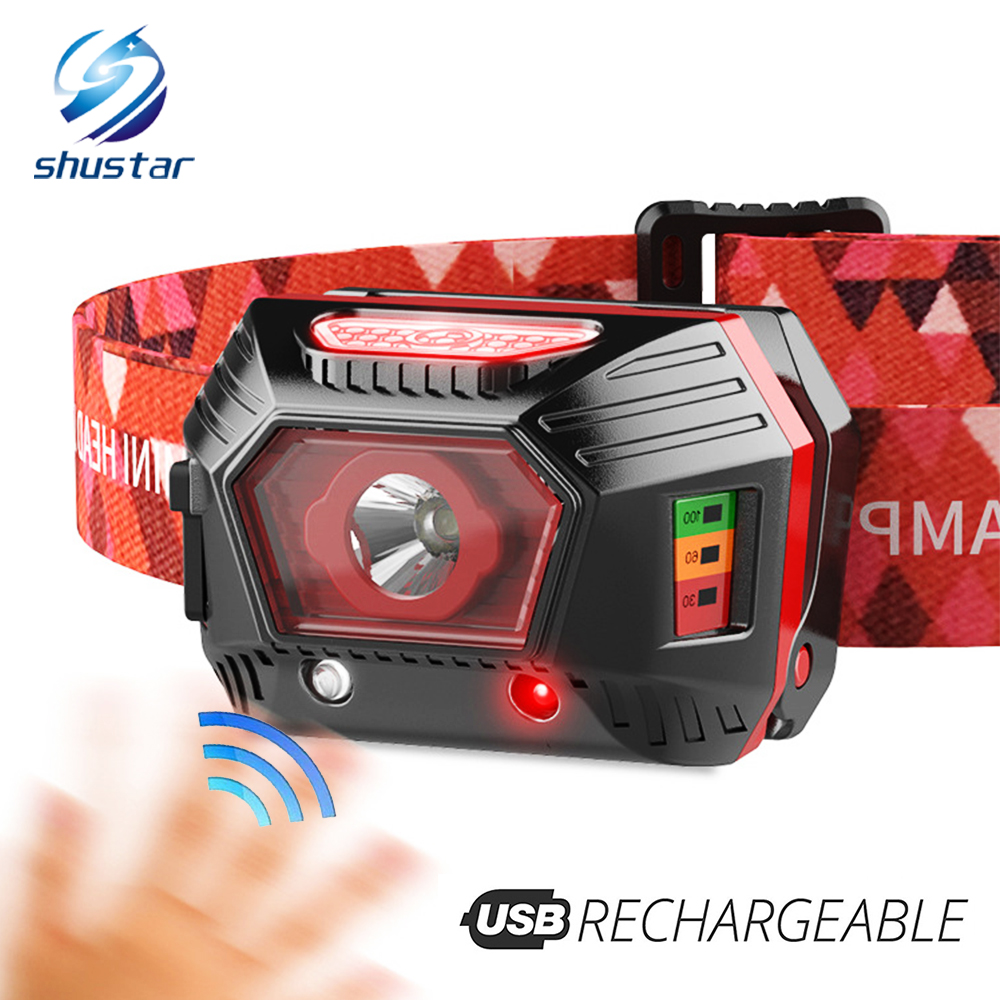 USB Rechargeable LED Headlamp With Infrared Sensor And Battery Display, Waterproof Night Run LED Headlight Fishing Lamp