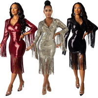 Burgundy Sequined Tassel Dress Long Sleeve Turn Down Collar Bodycon Dress Women Evening Party Clubwear Vestidos Christmas Dress