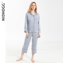 新エレガントなハイエンド6色パジャマビスコース固体pijamas長袖ラウンジ着用女性サテンパジャマ女性の家の服