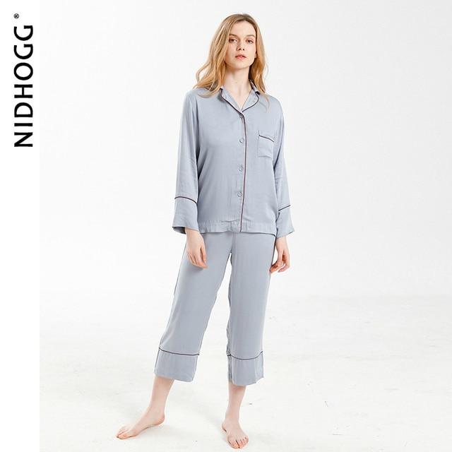 New Elegant High end 6 Color Pajamas Viscose Solid Pijamas Long Sleeve Lounge Wear Women Satin Sleepwear Womens Home Clothes