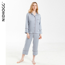 Pijama de tacto viscoso de alta gama para mujer, ropa de dormir unicolor, de manga larga, de satén, para el hogar