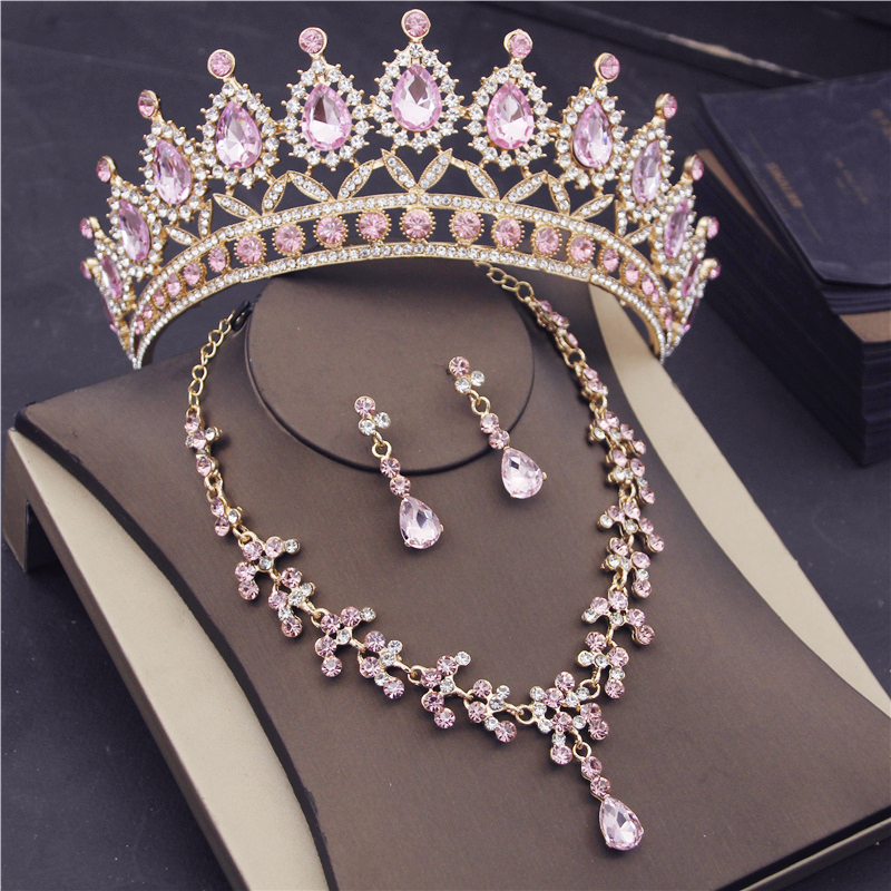 Fashion Jewelry Sets for Women Bridal Wedding Tiaras and Crowns Necklaces Earrings Set Princess Party Prom Accessories