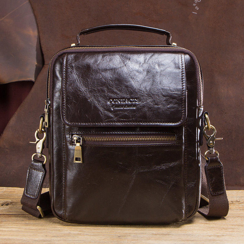 Small Mens Messenger Briefcase Man Bag Genuine Leather For Men Shoulder Bags Male Crossbody Bags For 9.7