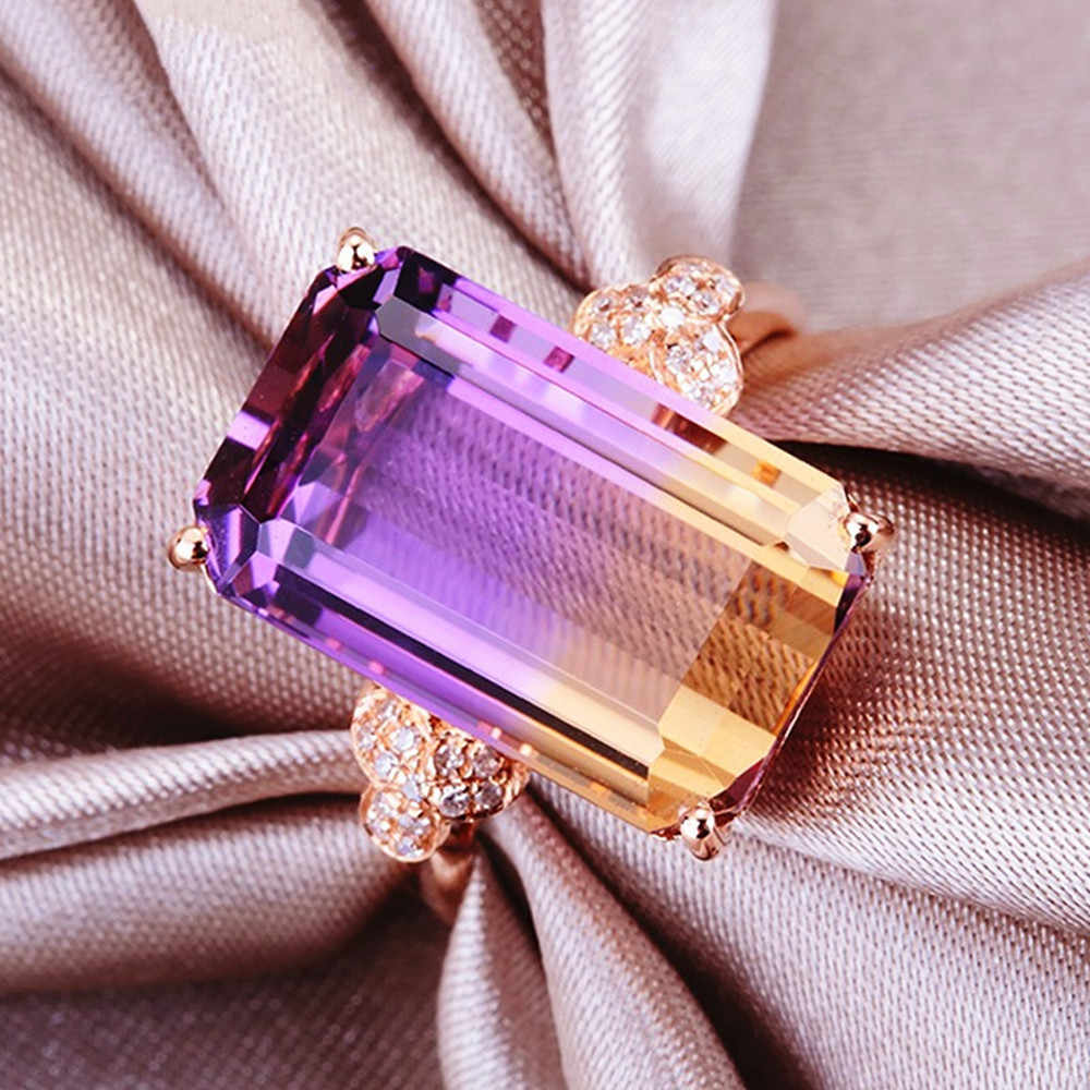 14k Oro Color De Rosa Piedras Preciosas Anillos Para Las Mujeres Amatista Citrina De Circón De Cristal De Diamantes De Lujo Fiesta Joyas De Diseño Bague Regalo Anillos Aliexpress
