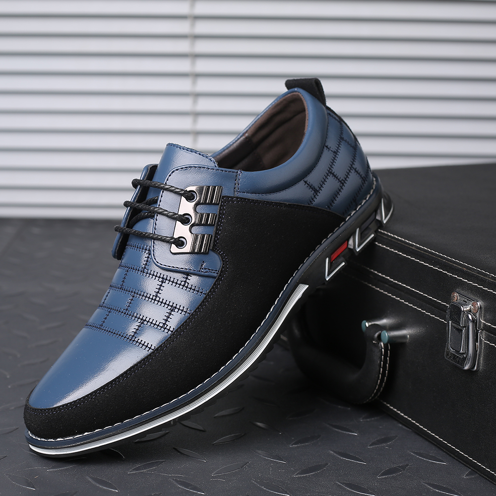 2019 New Oxfords Leather Men Casual Shoes Big Size 39-48 Formal Business Office Dress Shoes Lace-up Flat Loafer Men Walking Shoe