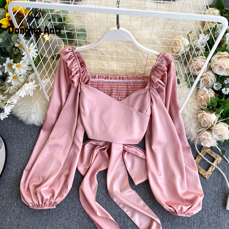 Woman Lace Skinny Shirt Lantern Sleeve Square Collar Sashes Femme Tops Trend 2020 Lady Fold Solid Elegant Blouse