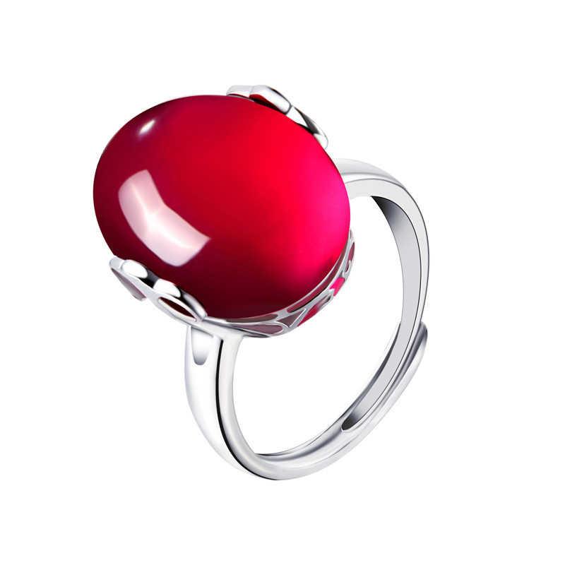 Vintage หญิงสีแดงหยกแหวน 100% เงินแท้ 925 แหวนหมั้นสำหรับสุภาพสตรีแหวน