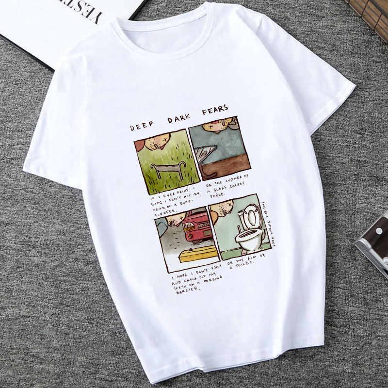 Tiefen, Dunklen Ängste Sommer 2019 Neue Cartoon Harajuku T Hemd Punk Ästhetik TShirt Drucken Casual Kurzarm Streetwear Frauen Top