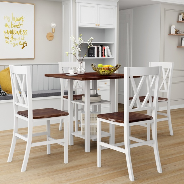 5 Piece Dining Set With Double Shelf And Matching Chairs For Family Use, Dining Room Furniture Set 4