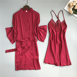 Image 4 - 2019 primavera verão feminino cetim robe & vestido define sexy rendas sleep lounge sem mangas sil nightwear roupão + noite vestido almofadas no peito
