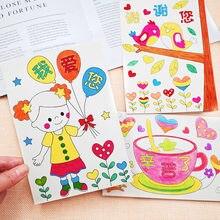 6 unids/set encantadora Manual bricolaje color tarjetas de felicitación Graffiti de Día de la madre bendición Kits de la tarjeta de la educación de los niños juguetes de peluche