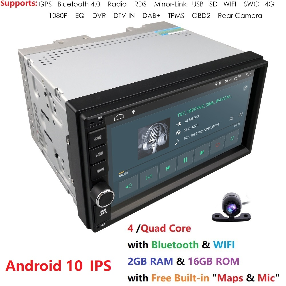 2G + 16G Quad Core Android 10 voiture lecteur multimédia gps navigation universelle vidéo 2 din voiture audio pour nissan xtrail Qashqai juke