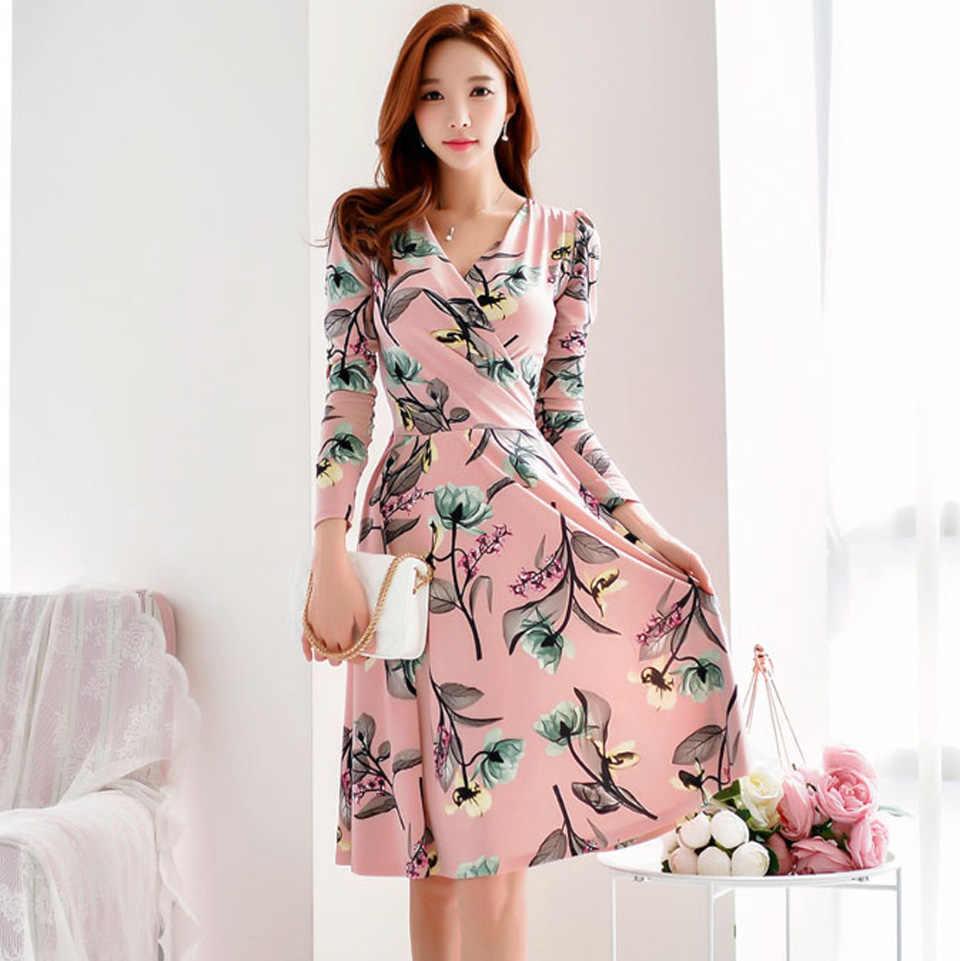 Temperamento Senhora Do Escritório Vestido 2019 Outono Rosa Mais Flor de Manga Comprida Vestido de Uma Linha Simples de Cintura Alta Elegante Vestido de Festa Mulheres