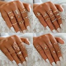 Tocona bohème feuille Joint anneaux ensembles pour femmes breloques aigle étoile géométique brillant strass fête bijoux accessoires Anillo