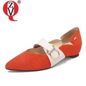 Zapatos planos de mujer de cuero de marca ZVQ otoño primavera naranja rojo gris Negro Chico mocasines zapatos lindos zapatos náuticos para mujer 40 tamaño