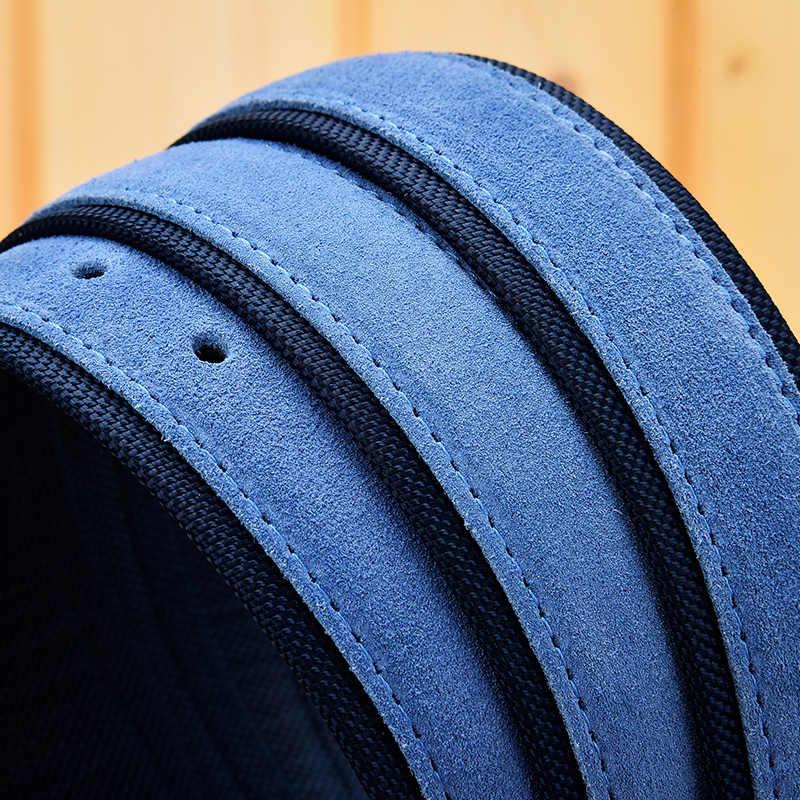גברים זמש עור חגורה עם אוקספורד בד רצועת עור אמיתי יוקרה סיכת אבזם כחול חגורות לגברים 3.5 cm ו 4.0 cm רוחב