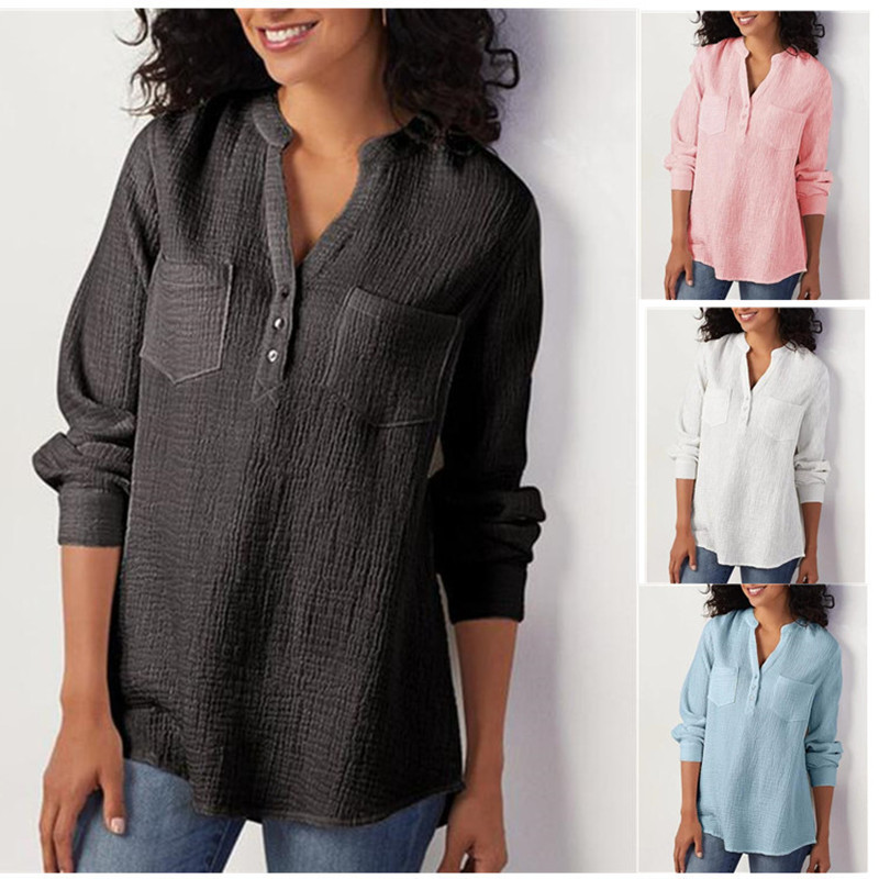 2019 Women Blouse Autumn Winter Solid  V-neck Pocket Shirt Cotton Linen Loose Large Size Blouse Female Fashion Casual Blouses