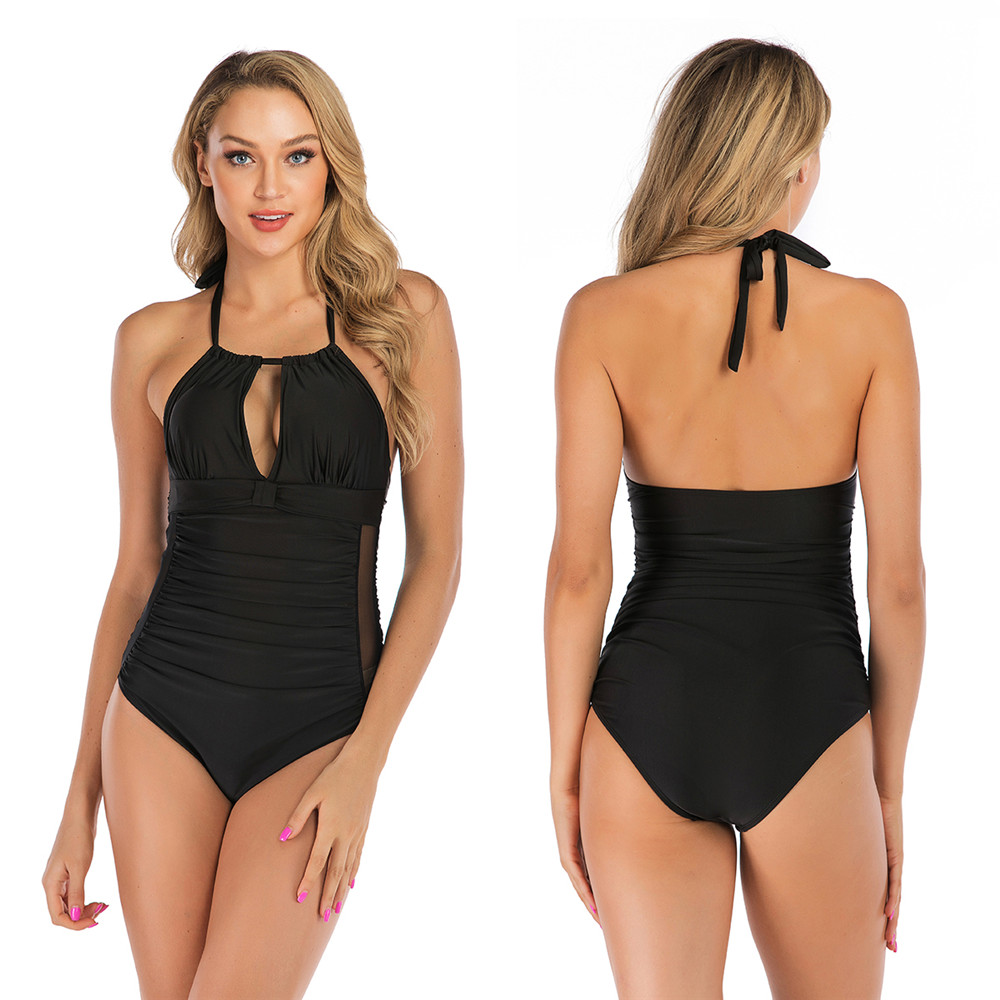 2019 Bikini Womens Control Swimwear Cutout-Neck One Piece Swimsuit One Piece High Neck Ruched Monokini Swimwear