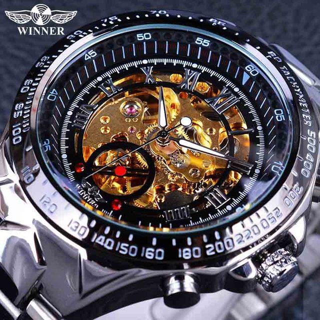 Kazanan klasik serisi altın hareketi çelik erkek İskelet erkek kol saati mekanik üst marka lüks moda otomatik saatler
