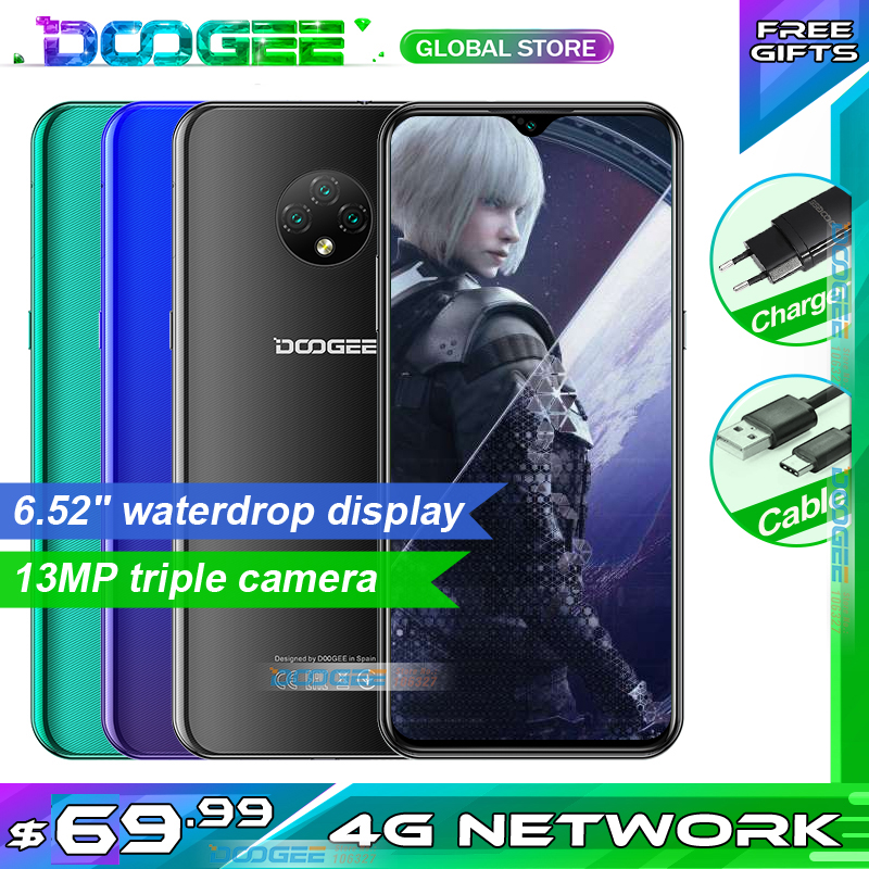 In Stock DOOGEE X95 Mobilephone 6.52″ Display Android 10 4G LTE 13MP Triple Camera 2GB RAM 16GB ROM MTK6737 4350mAh Cellphone