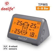 Deelife tpms sensor de monitoramento pressão dos pneus externo manômetro medidor interno para carro pneu 4 rodas solar tmps sistema