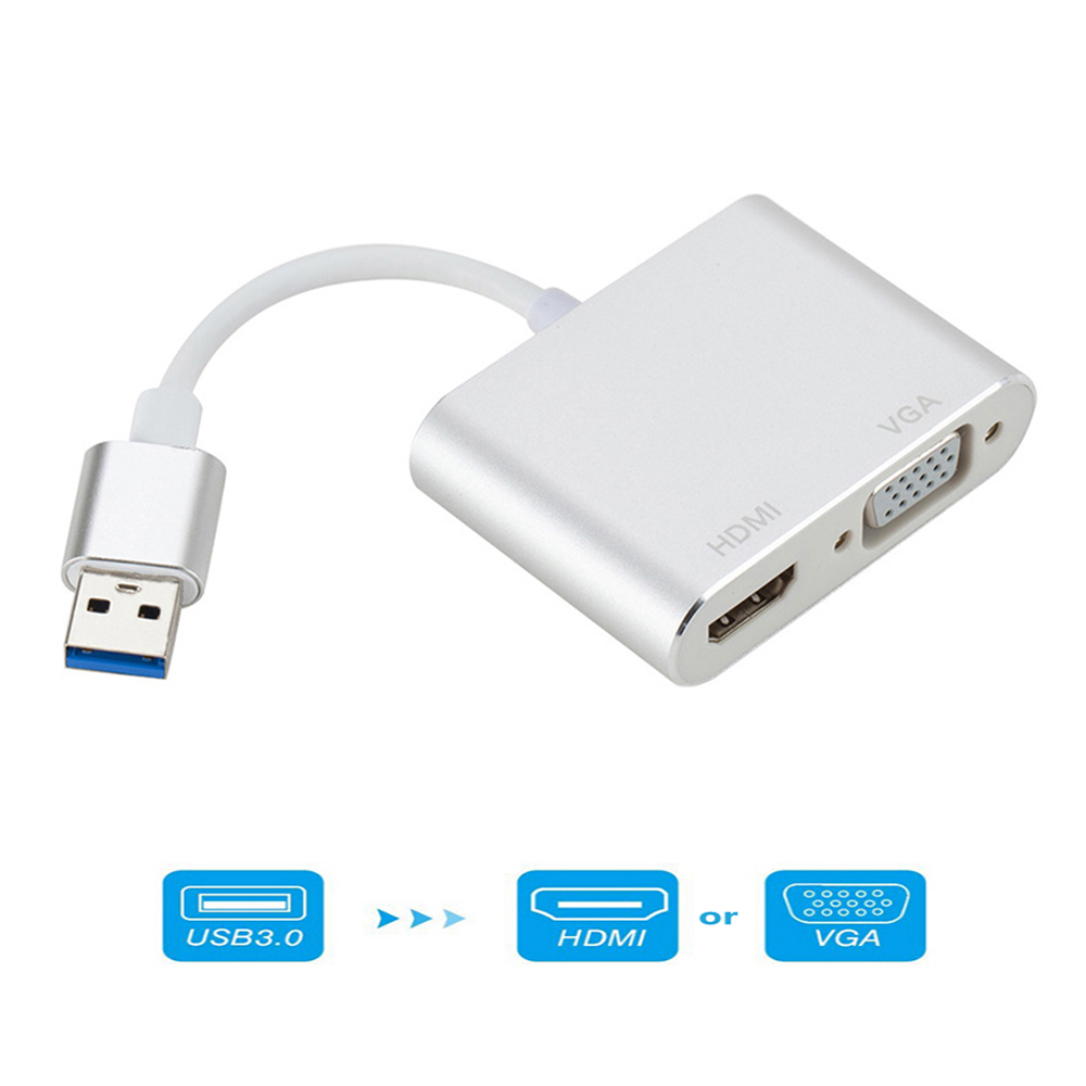 For MacBook Computer USB3.0 to <font><b>HDMI</b></font> VGA Adapter <font><b>4</b></font> <font><b>K</b></font> HD <font><b>1080</b></font> <font><b>P</b></font> Multi-Display <font><b>2</b></font>-in-<font><b>1</b></font> USB to <font><b>HDMI</b></font> Converter audio Video Cable image