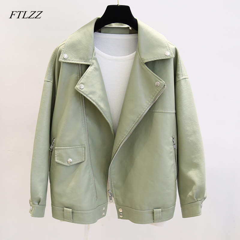 FTLZZ New Spring Faux Leather Pu Jacket Women Loose BF Coat Female Turndown Collar Moto Biker Rivet Zipper Vintage Street Jacket