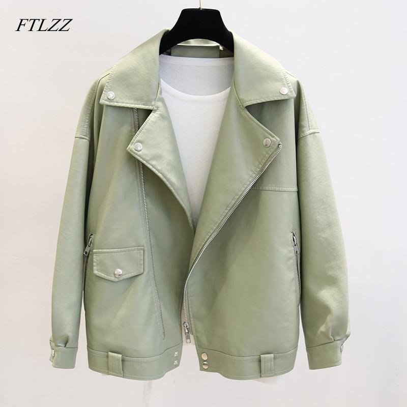 FTLZZ New Spring Faux Leather Pu Jacket Women Loose BF Coat Female Turndown Collar Moto Biker Rivet Zipper Vintage Street Jacket