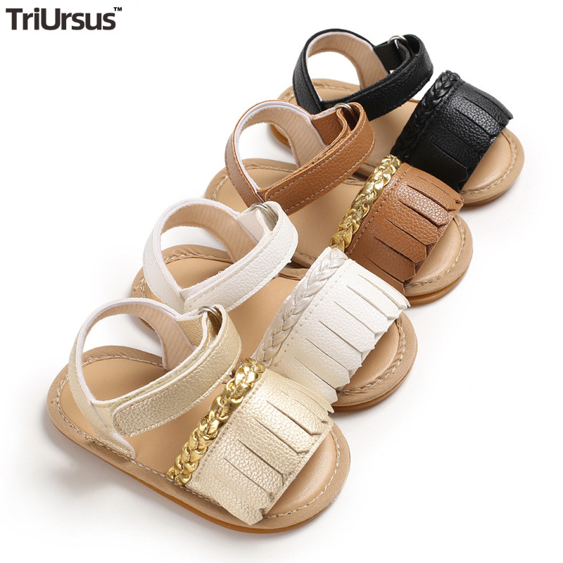 Cute Baby Girl Sandals Tassels Infant Barefoot Sandals Flat Baby Girls Summer Shoes Newborn Toddler Crib Garden Shoes For 1 Year