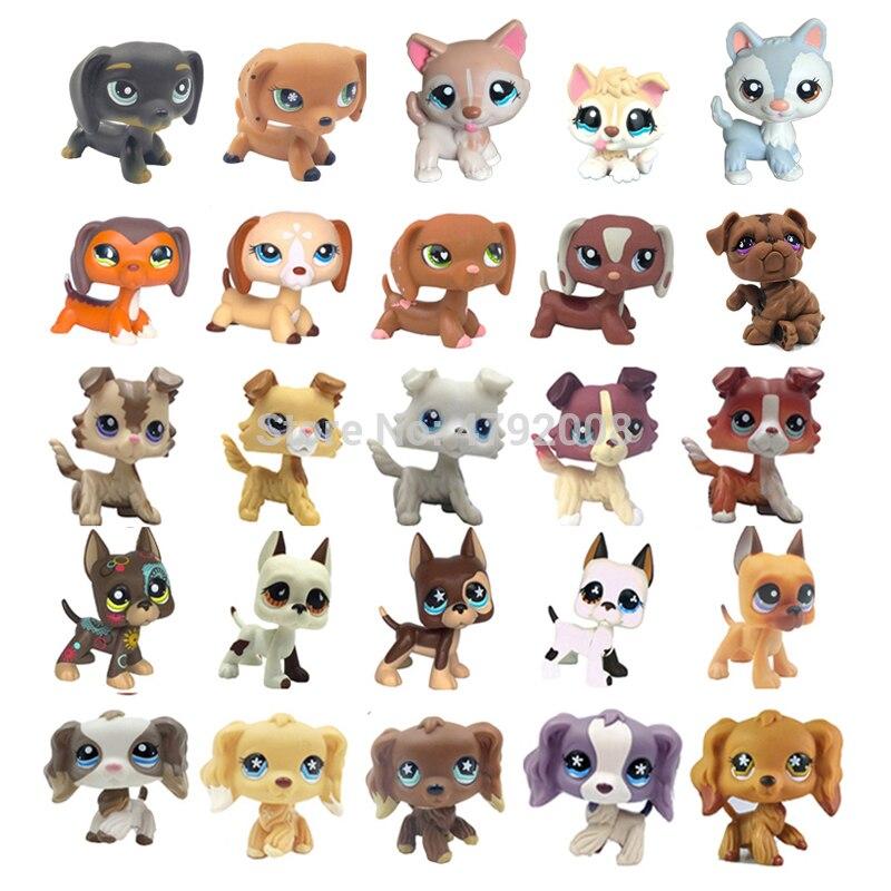 Rare Animal Pet Shop Toys Stands Dog Dachshund Collie Cocker Spaniel Great Dane Husky Old Original Figure Collection