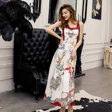 Delocah Runway Fashion Summer Spaghetti Strap Dress Womens Adjustable Straps Backless Printed Collect Waist Vintage Dresses