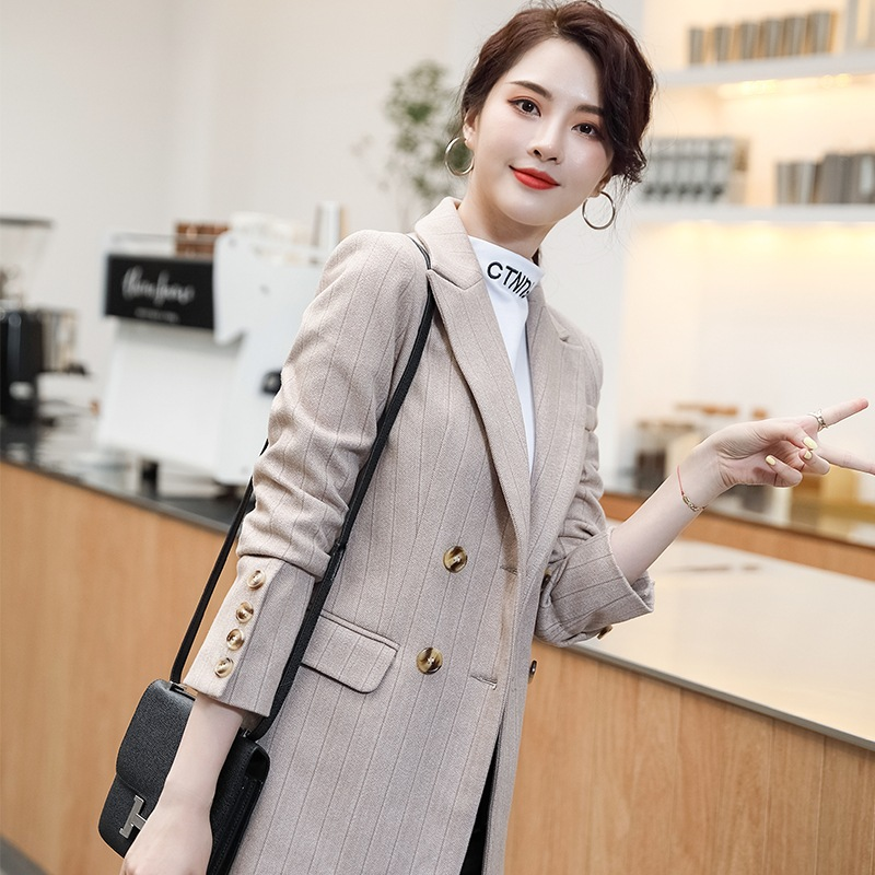 High-quality professional women's small suit New autumn and winter fit double-breasted ladies blazer Temperament office jacket