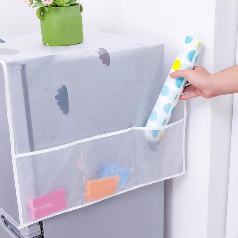 Washing Machine Cover Fridge Dust Cover With Pocket Waterproof Washing Machine Refrigerator Dust Cover Storage Organizer