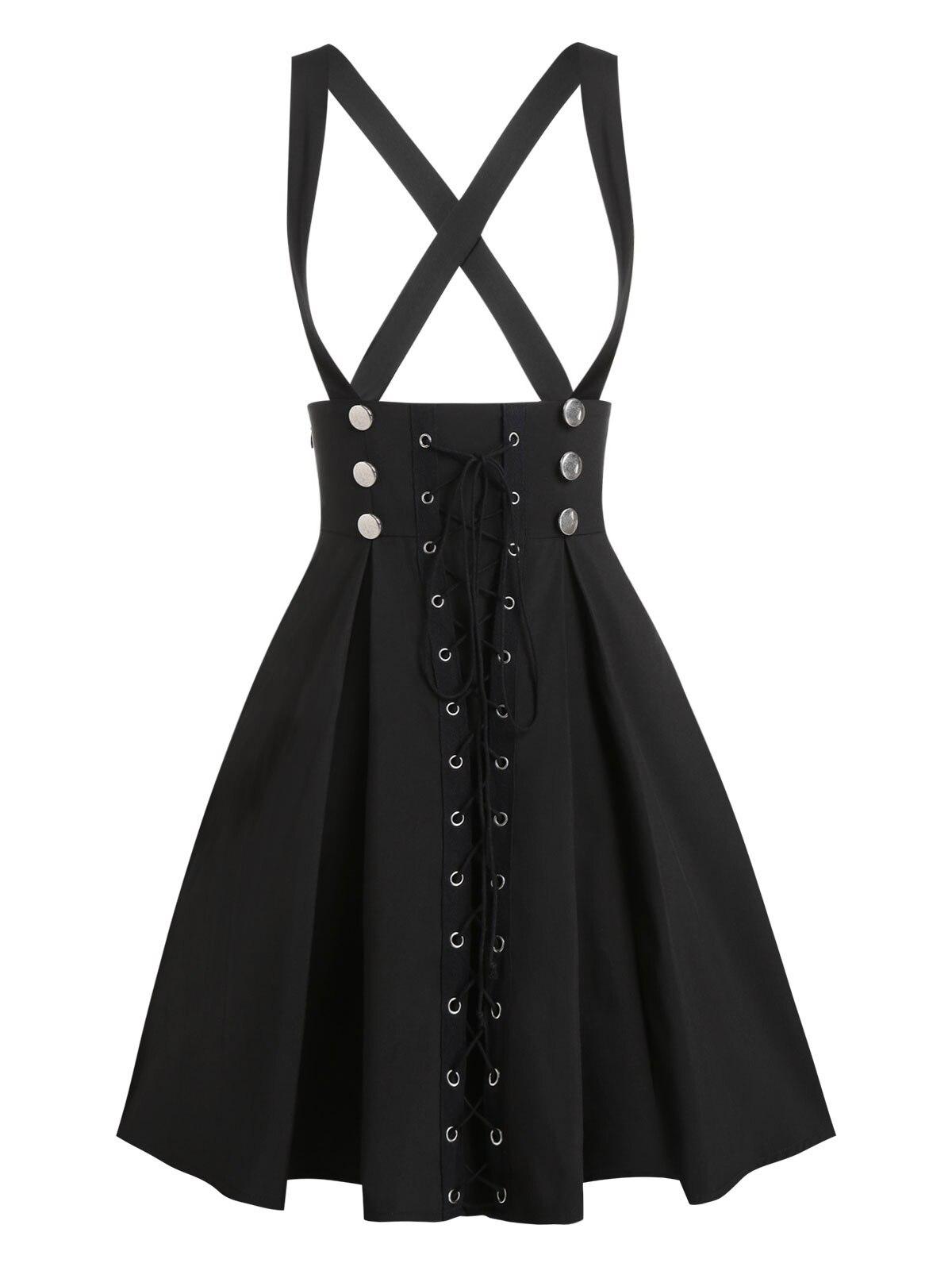 Wipalo Plus rozmiar 3XL czarna spódnica na co dzień gotycka Streetwear damska koronkowa z wiązaniem, zapinana na guziki spódnica z linii dwurzędowa Mini jednolita spódnica