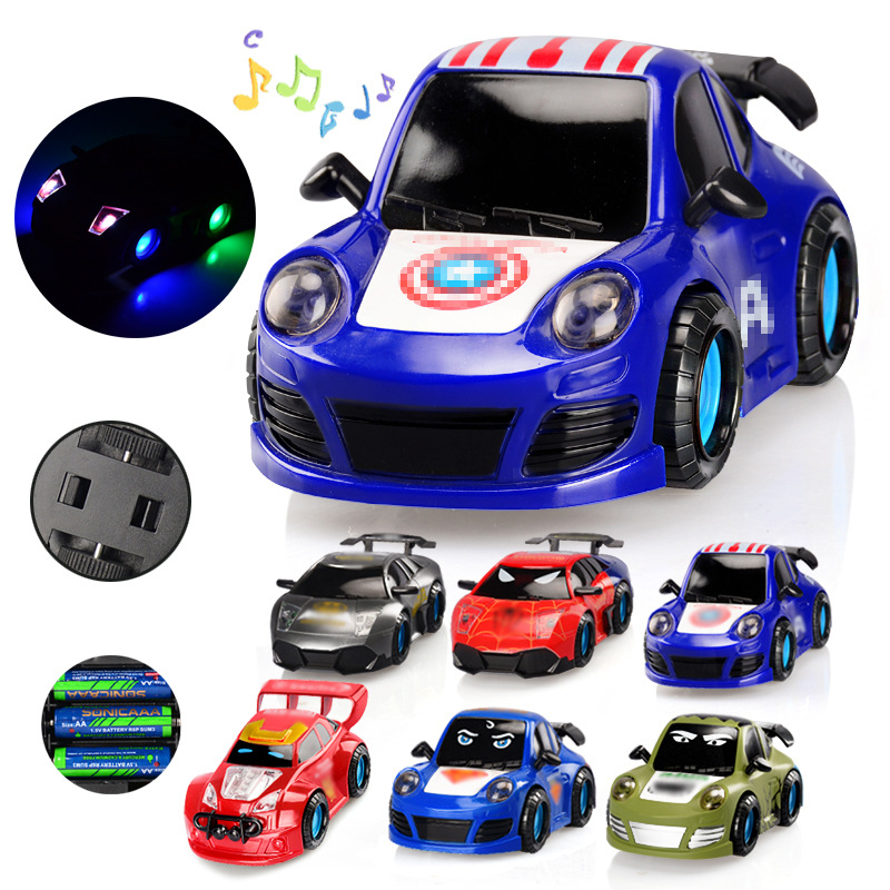 Universal Electric Toy Car Music Light Automatic Change To Race Car Sports Car Cartoon Hero CHILDREN'S Toy