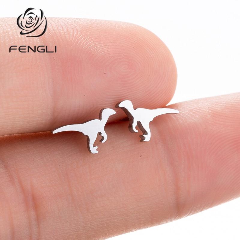 FENGLI Minimalist Dinosaur Earrings Pendientes Mujer Moda Ear Little Tyrannosaurus Punk Stud Earring Women Men Jewelry