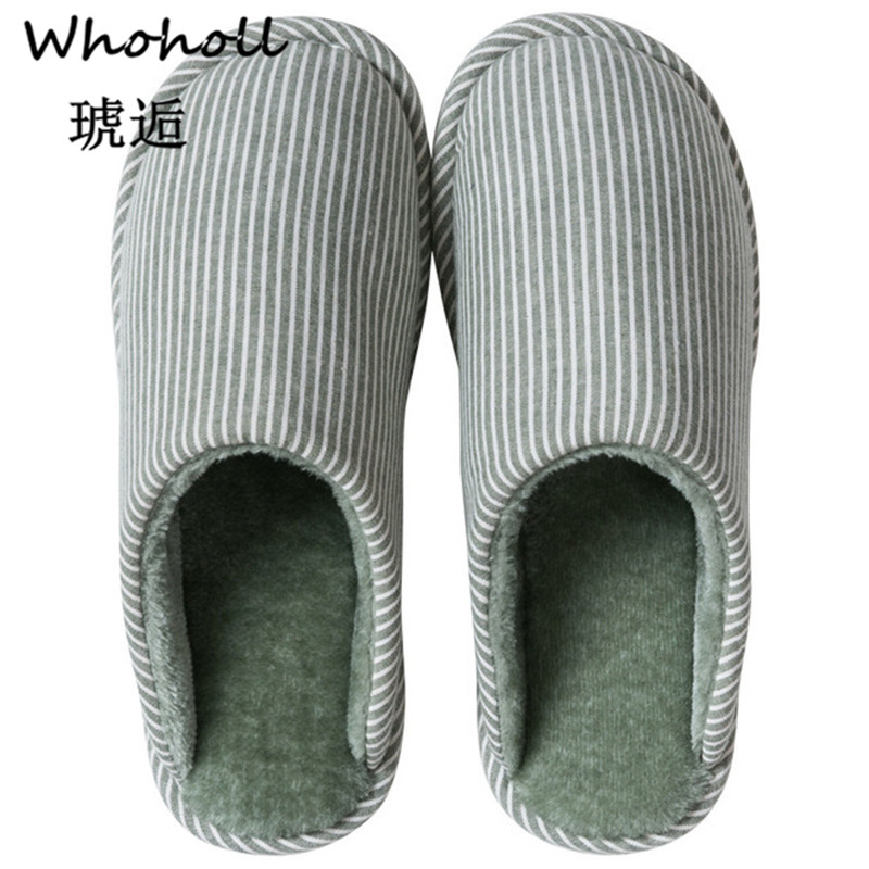 Whoholl Women Winter Home Slippers Striped Shoes Soft Warm House Indoor Bedroom Lovers Couples Slipper 9.5