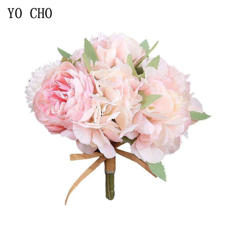 YO CHO 8 Heads Silk Peony Wedding Decorative Flowers Artificial Peony Flower Bridal Bouquet Exquisite Wedding Flowers