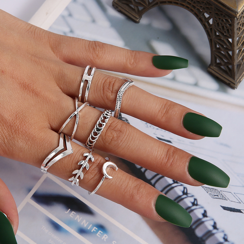 Bohemia Simple Design Geometric Finger Ring Sets For Women Snake Eye Stone Knuckle Rings Girls Fashion Jewelry