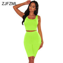 Neon Color Sexy Two Piece Set Women Festival Clothing Tank Crop Top And Biker Shorts  Suits Summer 2 Piece Club Outfit Tracksuit streetwear two piece set women s costumes contrast color hooded crop top and skinny shorts female suits autumn sweatsuits zogaa
