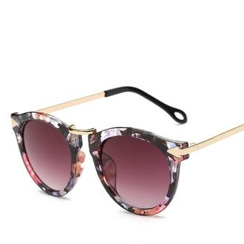 XaYbZc Cat Eye Sunglasses Women Luxury Brand Arrow Sun Glasses Vintage Shades For Woman Sunglass Ladies Flowers Sunglases