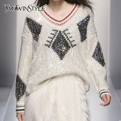 TWOTWINSTYLE Diamond Patchwork Women's Sweater Geometric Hit Color Knitting Pullovers Fashion Sweaters Female 2019 Autumn New