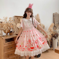 Ice cream Print Women's Japanese Kawaii Lolita Short Sleeve Dress Cute Doll Collar Teen Girls Soft Sister OP Dress Preppy Style